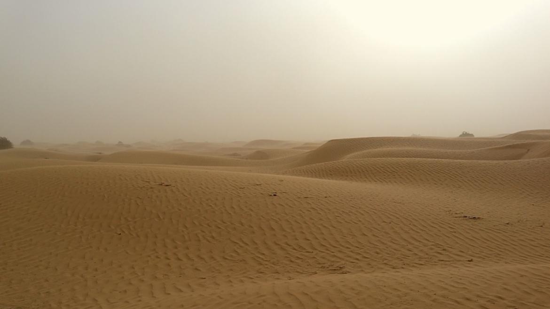 Xinjiang travel- Sand storm in Taklamakan Desert