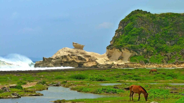 At the sea coast of an island of Batanes Archipelago